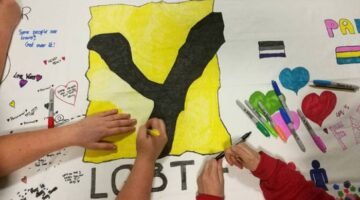 YP making banner for pride